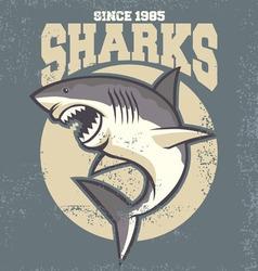 vintage shark mascot vector image