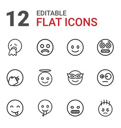 12 smiley icons vector