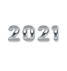 2021 greeting card with silver numbers 2021 vector image