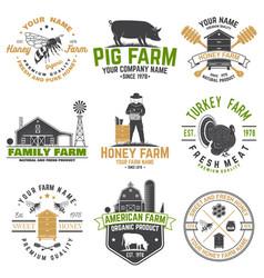 American farm and honey bee farm badge or label vector