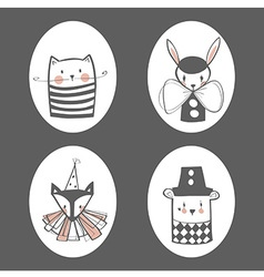 Animal circus portraits vector