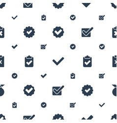 approved icons pattern seamless white background vector image