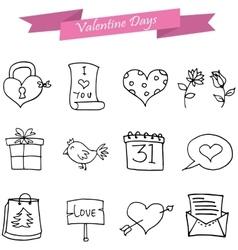 art of valentine icons element vector image