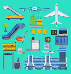 Aviation airport icons set travel airline vector