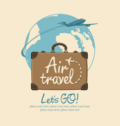 banner on the theme of air travel with a suitcase vector image
