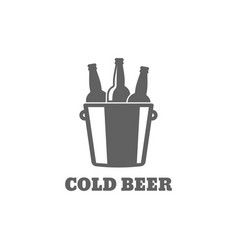 Beer bottle logo cold beer icon on white vector