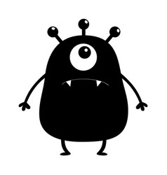 Black monster silhouette cute cartoon scary funny vector