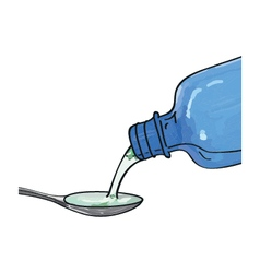 bottle pouring medicine syrup in spoon vector image