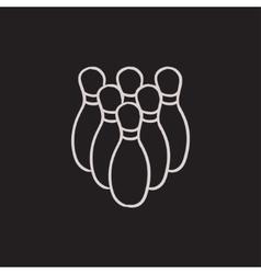 Bowling pins sketch icon vector image