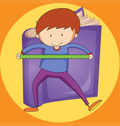 Boy and ruler with purple book background vector