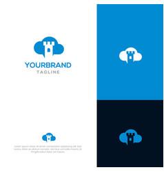 castle cloud logo template vector image