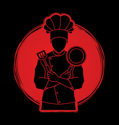 Chef cook standing crossed arms with pan spatula vector