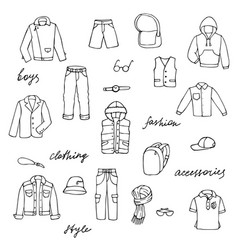Childish boy clothes and lettering doodle set vector