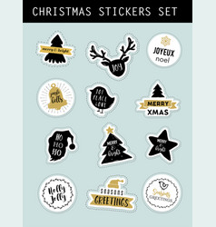 christmas modern stickers set labels and tags vector image
