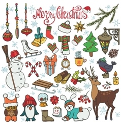 Christmas season doodle iconsanimalsColored vector image