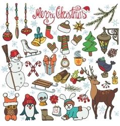 Christmas season doodle iconsanimalsColored vector