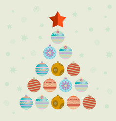 christmas tree consists of balls vector image