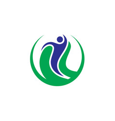Circle human eco logo vector