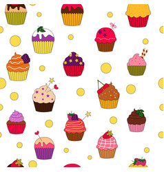 colored cupcakes pattern vector image
