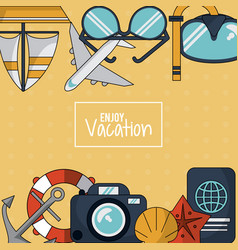 Colorful background of enjoy vacation with anchor vector