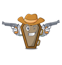 Cowboy coffin character cartoon style vector