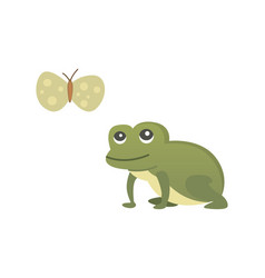 Cute frog cartoon isolated vector