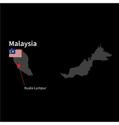 Detailed map of Malaysia and capital city Kuala vector image