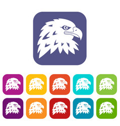 eagle icons set flat vector image