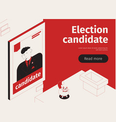 Election candidate isometric banner vector