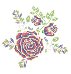Embroidery rose ornament vector