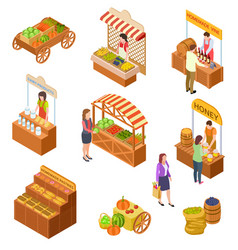 farmers market isometric people sell and buy vector image