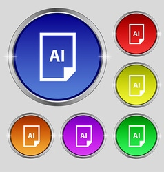 File ai icon sign round symbol on bright colourful vector