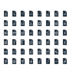 File types icon set in glyph style vector