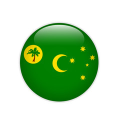 Flag cocos keeling islands button vector