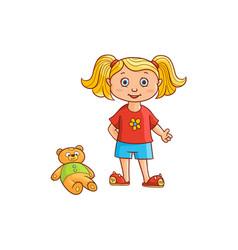 Flat cartoon girl kid in funny clothing vector