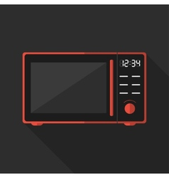 Flat microwave with long shadow icon vector image