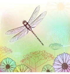 Flower background sketch with dragonfly vector