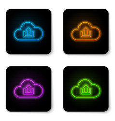 glowing neon cloud upload icon isolated on white vector image