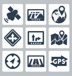 gps and navigation icons set vector image