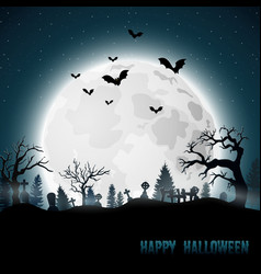 Halloween background with graveyard on full moon vector