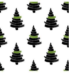 hand drawn christmas tree seamless pattern vector image