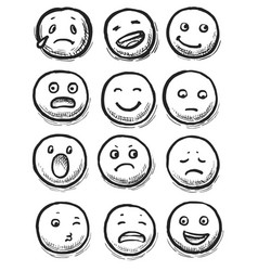 hand-drawn ink emoji face doodle icon set on white vector image