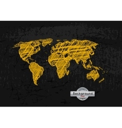 hand drawn yellow world map on a grey background vector image
