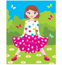 happy girl in park vector image