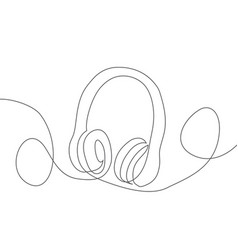 headphone one line drawing headphone in vector image