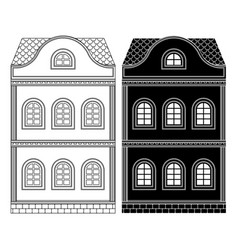 house two-storey building flat black and outline vector image