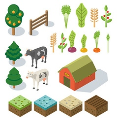 Isometric Farm in village Elements for game vector