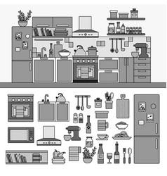 kitchen interior with modern furniture line vector image