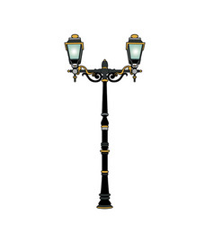 Lamppost two branches vector