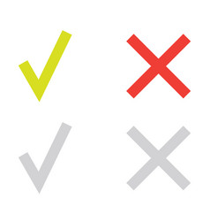 Line green check mark or check box icons set vector